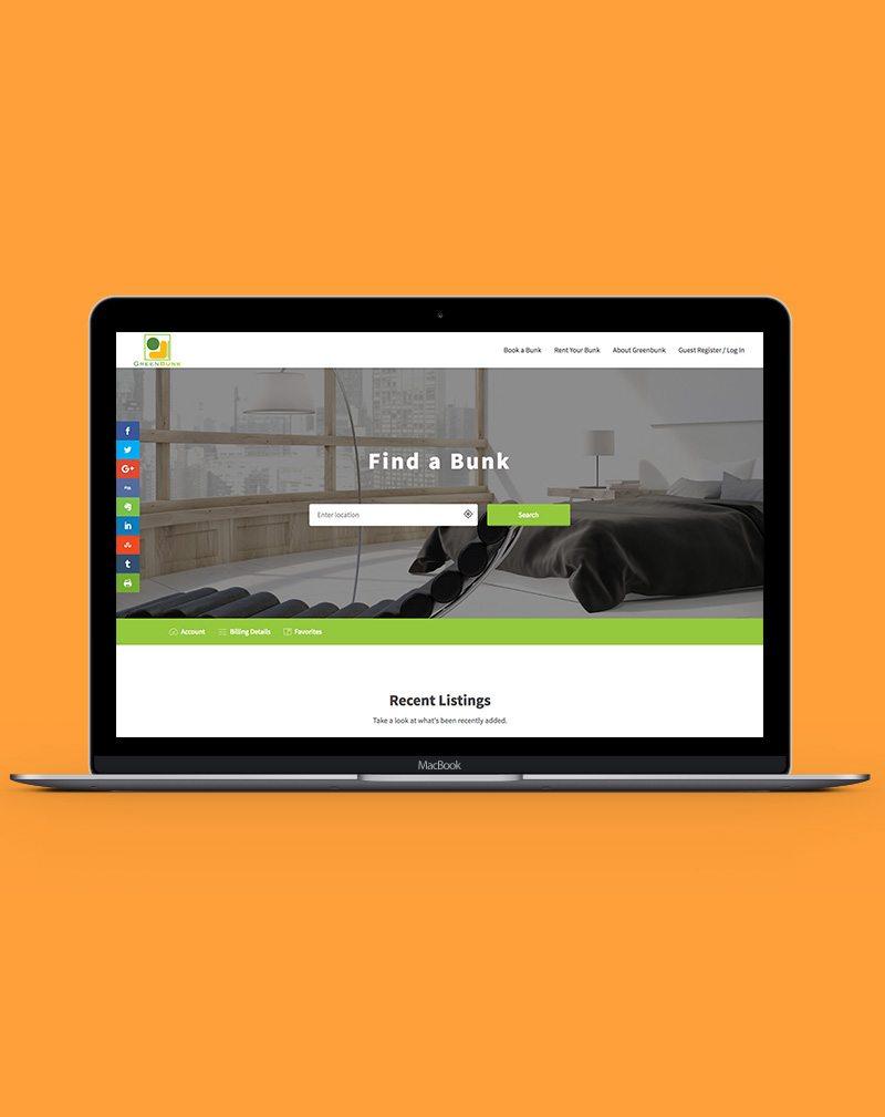 GreenBunk Screenshot using wordpress for web design