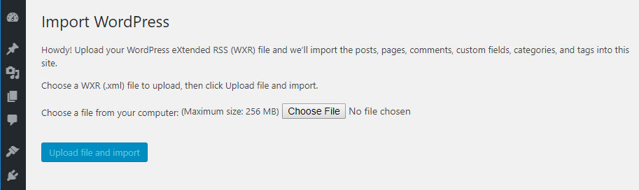 Importing an XML file into WordPress.