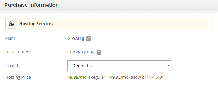 Choosing a pricing plan from SiteGround's drop-down menu.