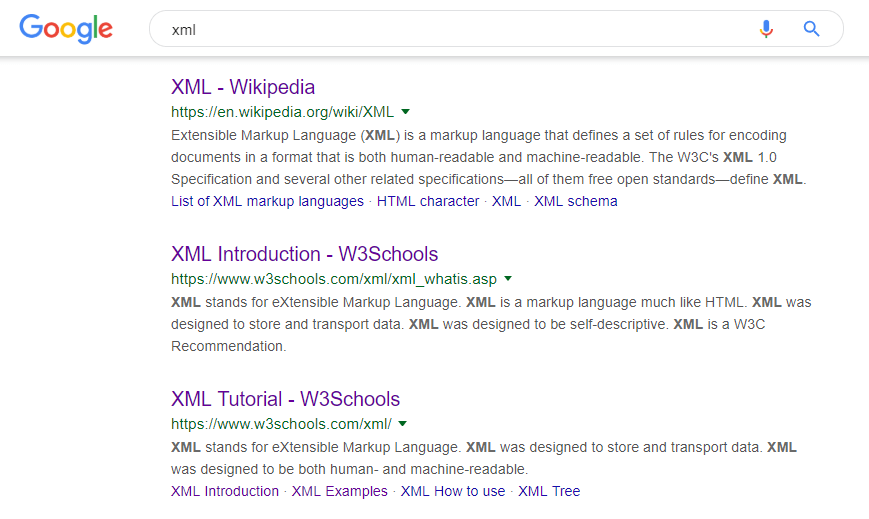 A Google search about XML.