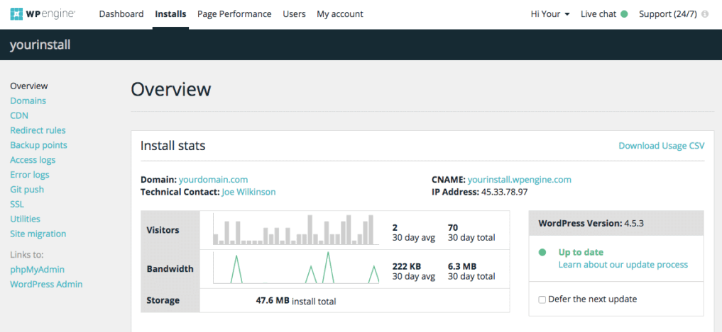 The WPEngine dashboard.