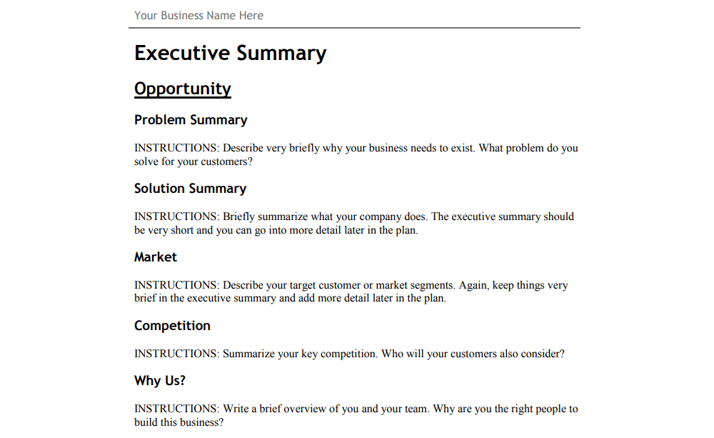 An example of a business plan template.
