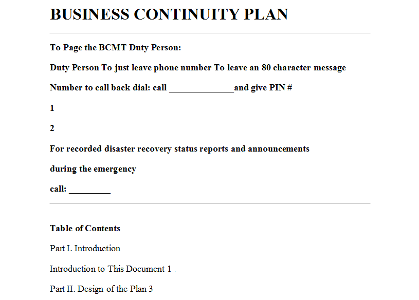 An example of a business continuity plan.