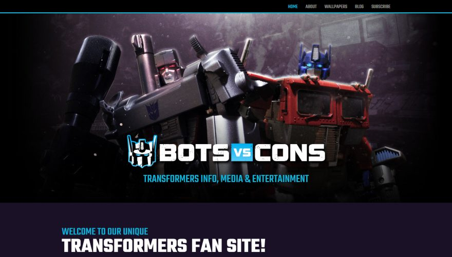 Bots-vs-Cons Screenshot of Home Page