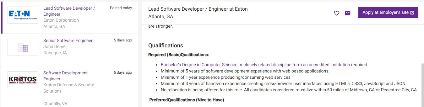 A job posting listing a bachelor's degree as a requirement.