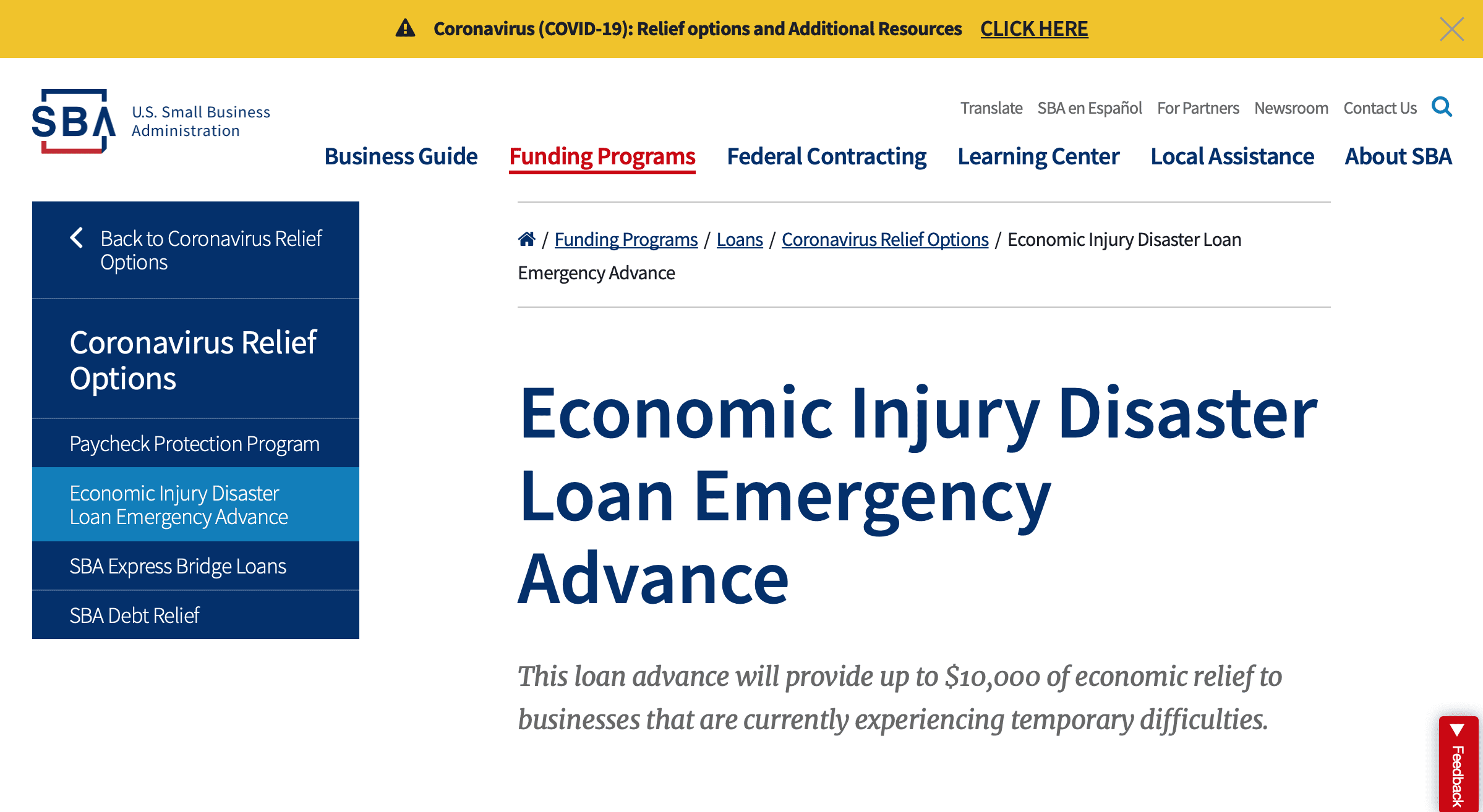 SBA Offering $10,000 in Emergency Grants to Small Businesses