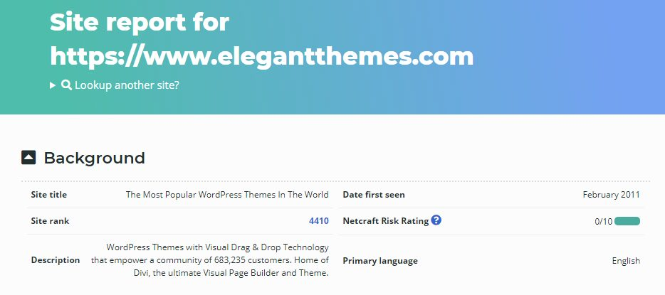 A Netcraft information page for Elegant Themes, showing what the website is built with.