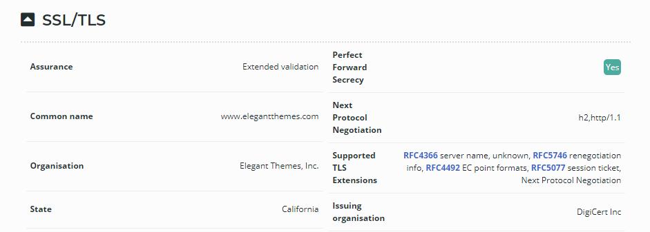 Information on Elegant Themes' SSL certificate.