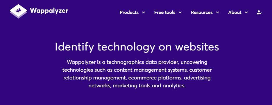 The Wappalyzer home page.