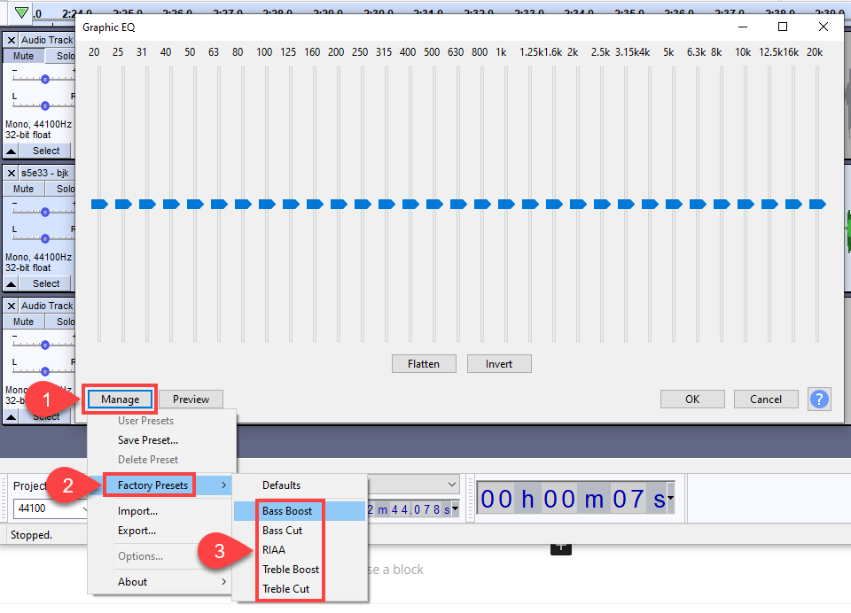 presets for eq in audacity