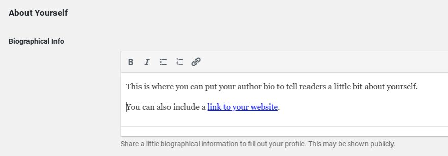 The author bio section in WordPress user profile settings.