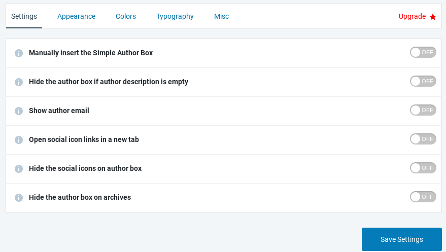 The Simple Author Box settings.