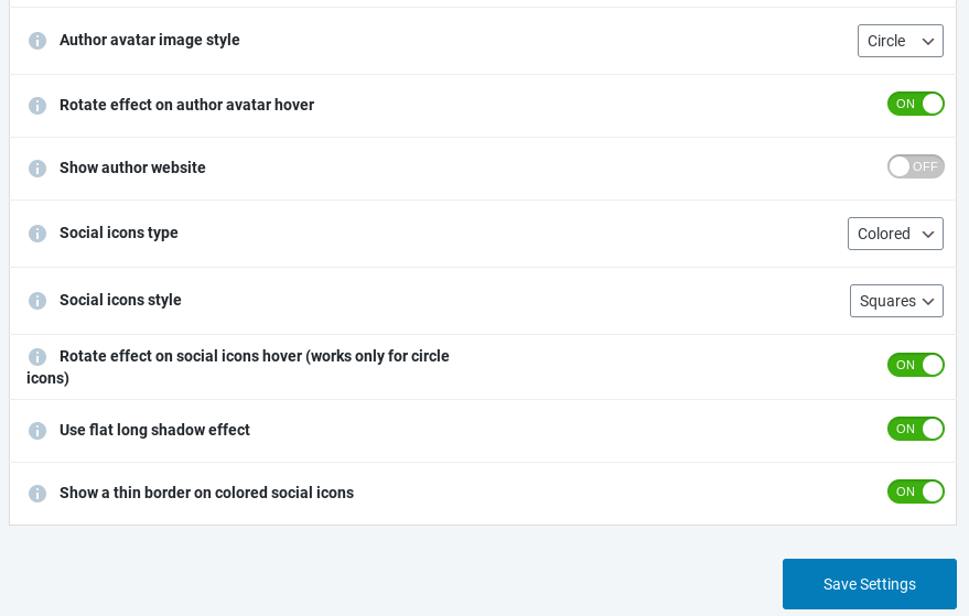 A WordPress author box style effect options.