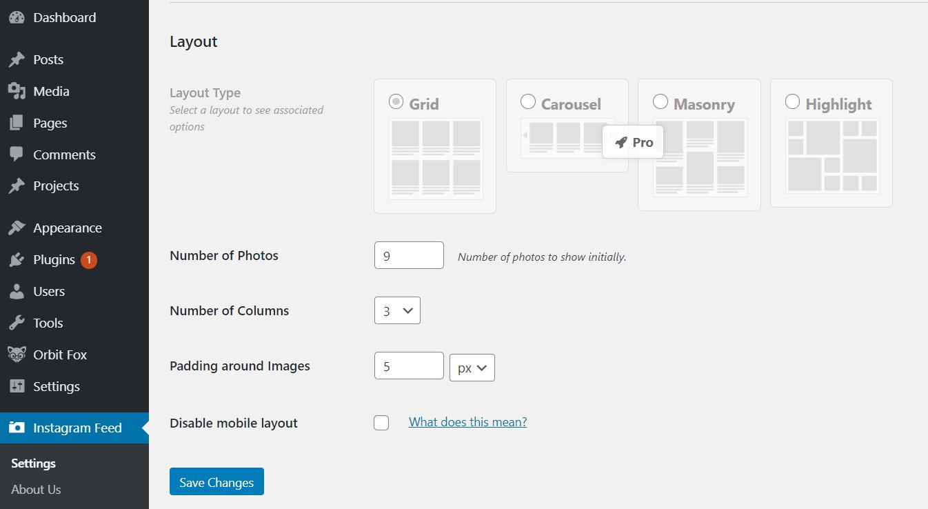 Choosing a layout.