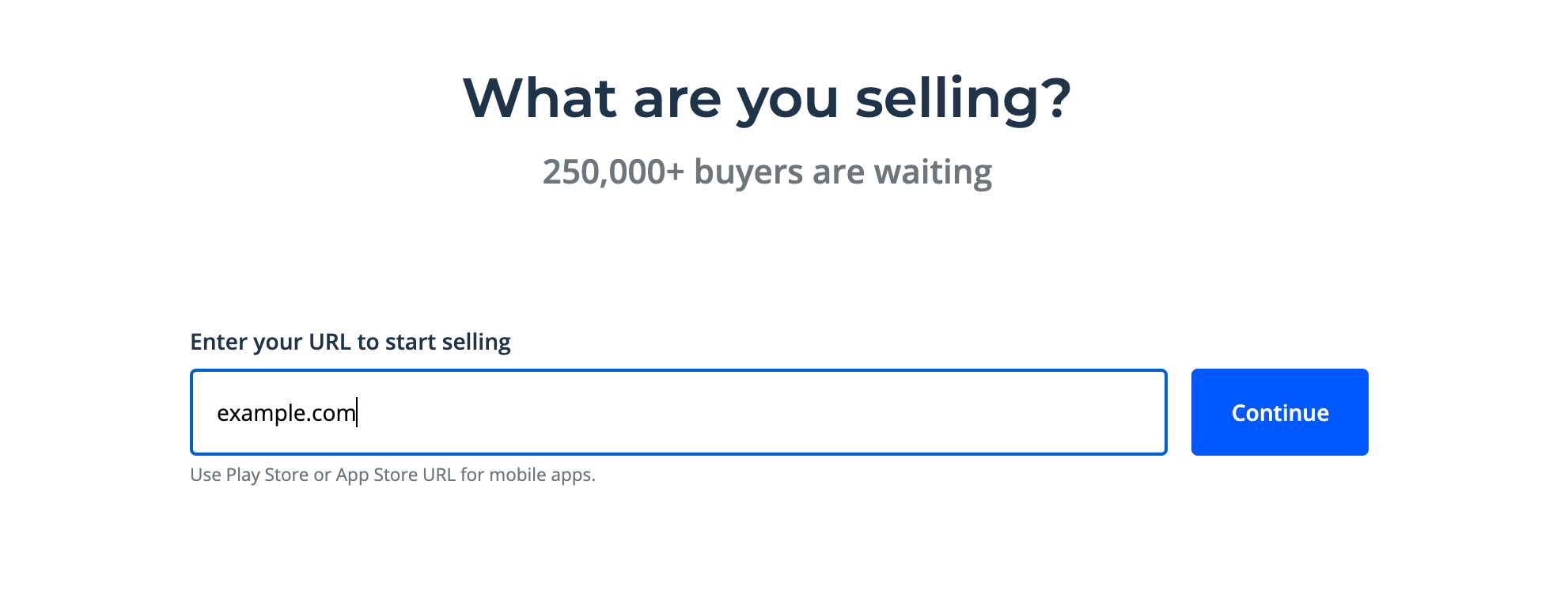 Entering the domain you want to sell on Flippa.