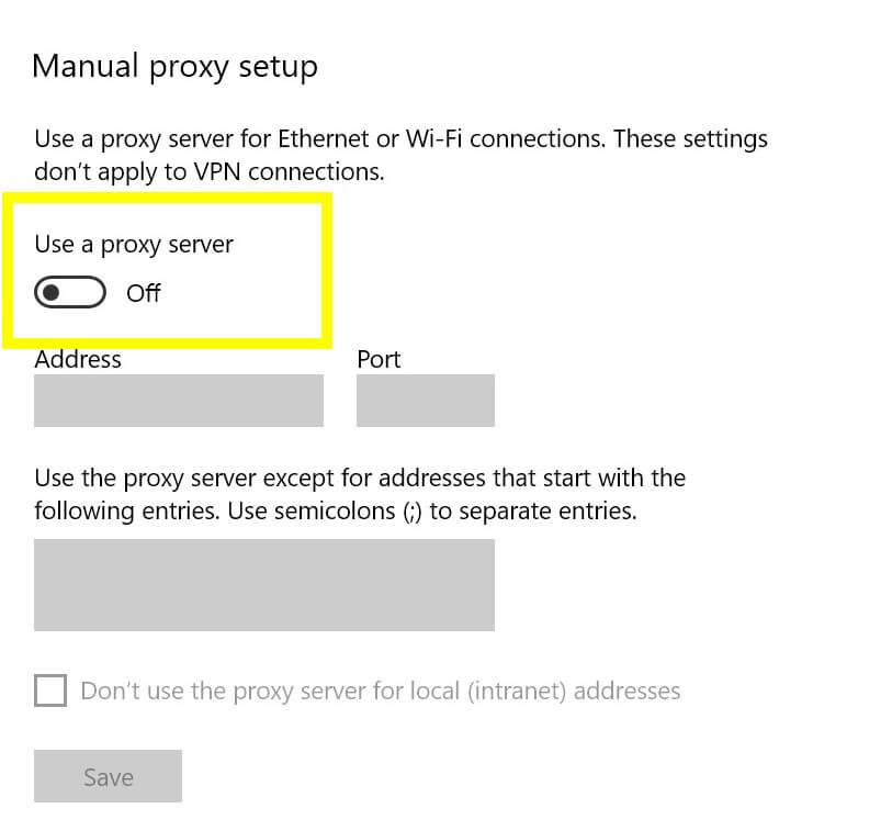 The Windows 10 proxy settings.