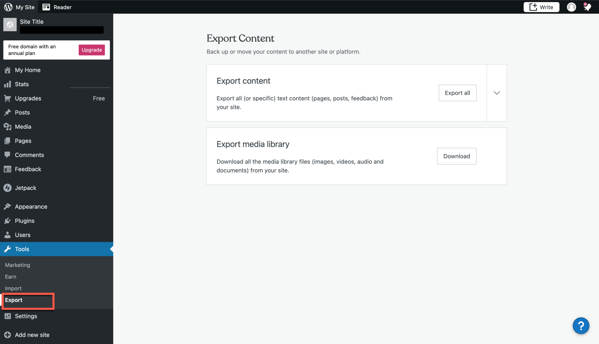 How to Use the WordPress Export Tool