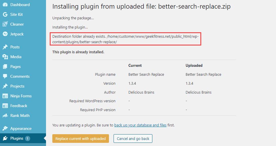 """How to Fix the """"Destination Folder Already Exists"""" in WordPress"""