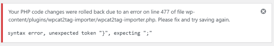 """How to Fix the """"Parse Error: Syntax Error, Unexpected"""" in WordPress"""