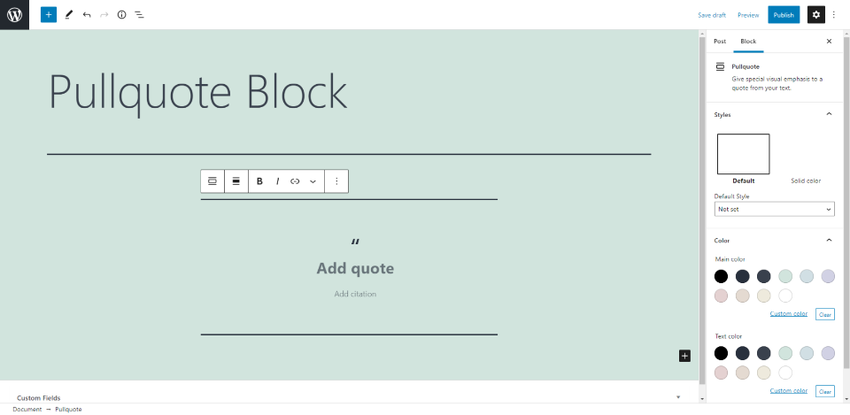 How to Use the WordPress Pullquote Block