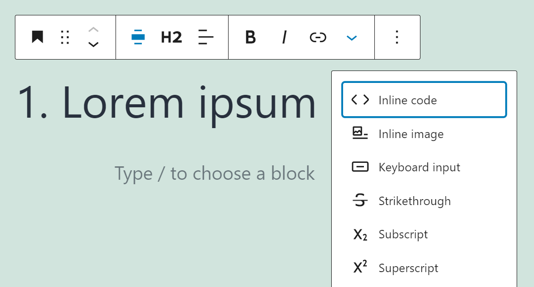 Checking out additional Header block formatting options