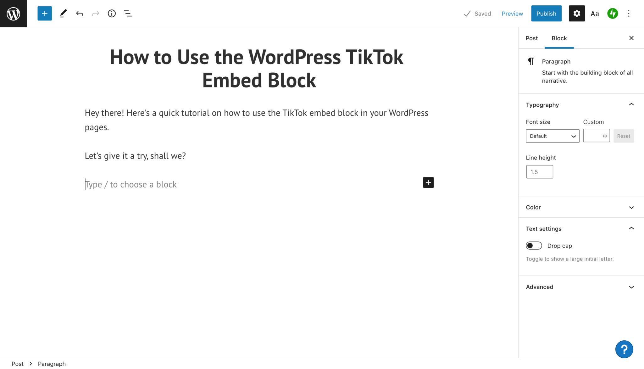 How to Use the WordPress TikTok Embed Block